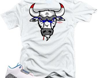 "T Shirt to match Nike Air Jordan Retro 3 true blue ""The Bull"" White Tee"