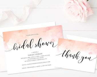 Printable Bridal Shower Invitation • Watercolor Invitation • Wedding Shower Invitation • Printable Bridal Shower Invite • Modern Calligraphy
