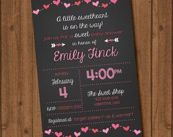 Pink Valentines Heart Baby Shower Invite File