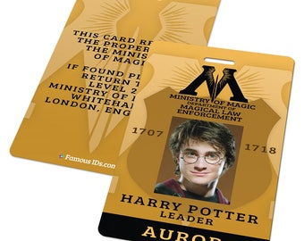 Custom ID Card Badge: Harry Potter Ministry of Magic Law Enforcement, Auror Officer, Cosplay Costume, Uniform,
