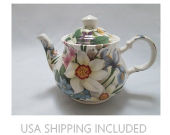 Sadler Four Cup Teapot Made in England Gorgeous Flowers