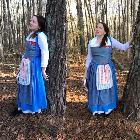 Adult Blue Peasant Dress Costume Cosplay inspired by Live Action Belle 2017 Beauty and the Beast Movie