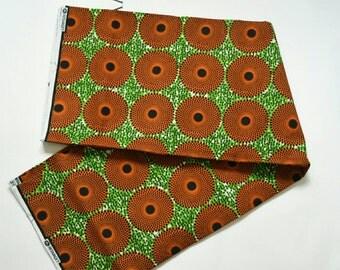 4 yards of Ankara Fabric orange and green circles african prints
