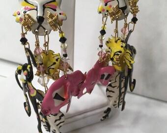 Lunch At The Ritz Enamel Earrings Vintage Pink Elephant Monkey Lion Snow Leopard Jungle Zoo Animals Stud Pierced Jewelry Hand Signed '86