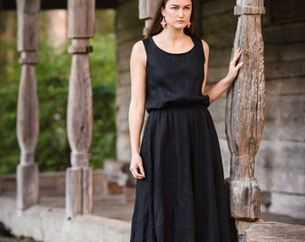 Black linen dress, black midi dress, black dresses, black dress, midi dress, elegant dress, linen dress, natural material dress