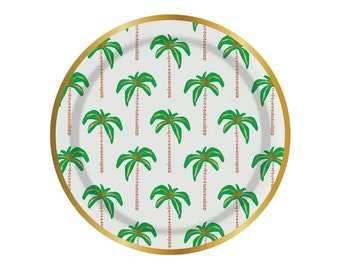 Palm tree paper plates. Set of 8. SMALL palm tree party plates. Gold foil and green palm tree plates. Tropical party plate. Luau tableware.