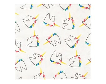 Unicorn paper napkins. Set of 20. Unicorn print party napkins. Unicorns with rainbow manes on paper napkins.  Unicorn party tableware napkin