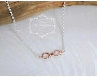 Rose Gold Infinity Necklace, Love Necklce, Infinity Jewellery, Valentine, Love X Infinity, Romantic, Fiancee Gift, Girlfriend, New Wife Gift