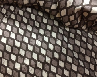 Rain drops Print, Indian cotton Fabric,charcoal grey and white, Fabric By the Yard, Tribal Print, diamond print, geometric print, trend SS17