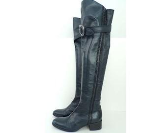 Vintage 90s Vero Cuoio Dark Blue Leather Boots Size 7.5, Knee High Boots, Leather Boots, Dark Blue Leather, Blue Boots, Vero Cuoio Boots