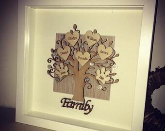 Personalised handmade family tree frame