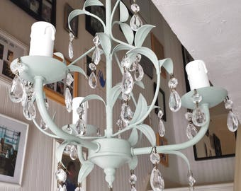 Crystal chandelier lighting, pale Duck Egg Annie Sloan chalk paint upcycled light, leafy pendant lighting fixture leaded glass crystal light