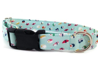 Sushi dog collar, Teal dog collar,  Sushi , girl dog collar, boy dog collar, large dog collar, dog collar, Asian Dog collat