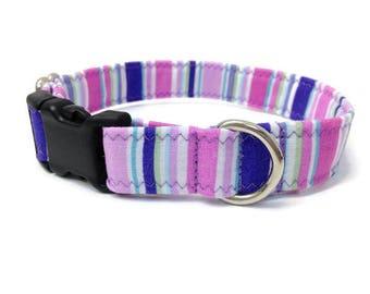 Lavender Stripe Small dog collar, Purple stripe dog collar,  preppy dog collar, chic dog collar, Girl dog collar, purple dog collar