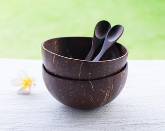 Set of 2 Handmade Coconut Shell Bowls & Rosewood Spoons | Smoothie Cups | Rice Salad Dessert Cereal Bowls | Dark Wooden Spoons | Foodie Gift