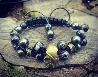 Skull bracelet men Black bracelet Mens Bracelet with skull Jewelry set Mens skull bracelet bronze Jewelry Gemstone Bracelet Gothic Bracelet
