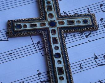 Large vintage cross pendant / cross copper handmade in France vintage / old Crucifix handmade