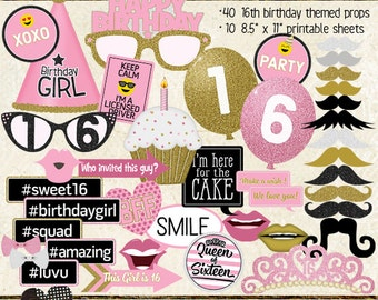Photo Booth Props, HAPPY 16TH BIRTHDAY, printable sheets, instant download, pink, gold, sweet 16