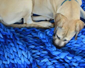 Chunky Knit Blanket - 100% Merino Wool Throw- Chunky Blankets