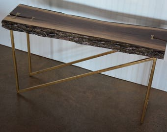 Live Edge Walnut Console Table with Gold Details