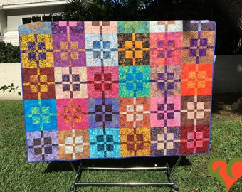 Batik Modern Queen Sized Quilt. Colorful. Handmade One of A Kind Quilt.