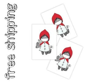 """Set of 3 tatts """"red riding hood"""". Kids party fairytale temporary tattoos. Retro old school style. Party bag supply. TT124"""