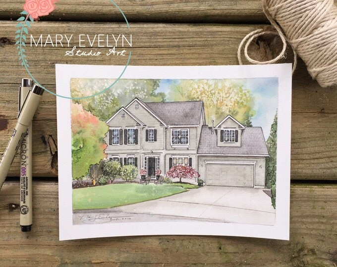 "Featured listing image: 5"" x 7"" Custom Watercolor House Illustration"