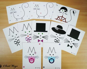 Postcard set, 10, postcards, postcard, cat postcard, ChatMage, postcrossing, minimalist postcard, kawaii stationery, baby postcard, kitty