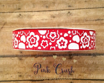 "7/8"" USDR White Glitter Flowers on Red Grosgrain Ribbon / Ribbon for Bows / Ribbon by the yard"