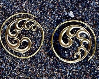 "Boho Spiral Earrings ""Wild Ocean Spiral"" Brass 30mm/ 1.18 Inches"
