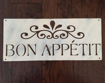 Bon Appetit Sign (Distressed Steel)