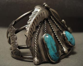Drooping Unique Silver Vintage Navajo Turquoise Bracelet