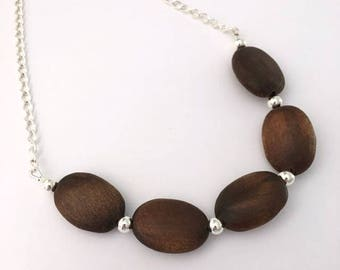 Wood and silver necklace / popular necklaces / simple necklace / statement necklace / wooden necklace /  everyday necklace