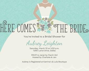 Printable Custom Bridal invitation, Bridal invitation, Digital invitation, gown invitation, digital custom template