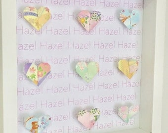 Personalised, pastel heart, origami wall frame, anniversary gift, baby girl gift, naming gift, heart origami