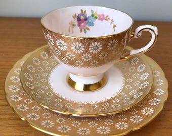Pink Tuscan Tea Cup Trio, Gold Daisy Teacup Saucer and Side Plate, Flower Bone China, Floral Tea Cup Set