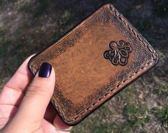 Antiqued Brown Leather Stamped Octopus Leather Card Holder