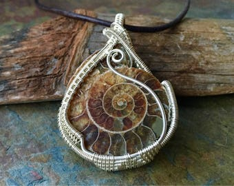 Ammonite Fossil ~ Sterling Silver - Earth Energy Pendants - Wire Wrapped Jewelry Ammonite Pendant - Artisan - Fossil Necklace - Polished