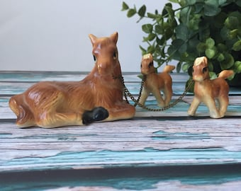 Vintage Ceramic Horse Mare with Two Foals Chained Equestrian Trinket Made in Japan
