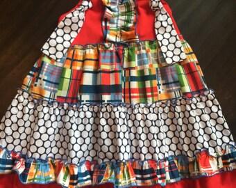 Girls plaid knot tie dress