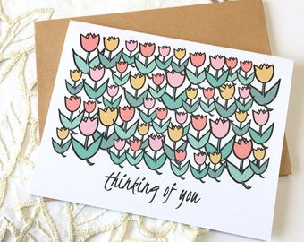 Thinking of You - Sympathy Card - Tulip Card - Just Because Card - All Occasion - Sympathy - Flowers - Tulips - Thinking - Love - Thoughts