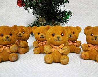 VINTAGE: Set  of 6 Adorable Brown Velvet Flocked Teddy Bears Ornaments / Vintage Christmas Ornaments / Stocking Stuffer.{G1-213#00716}