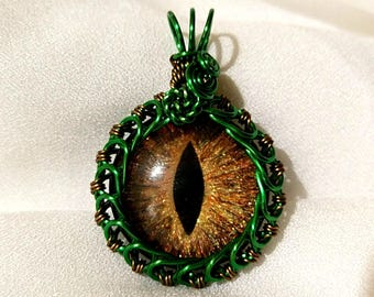 Gold Hand-Painted Dragon Eye Pendant w/Green and Brass Wire Wrap (with Necklace)