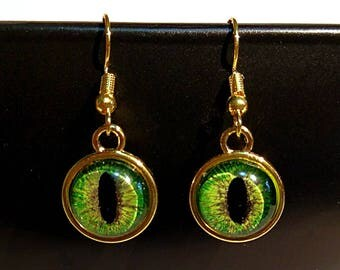 Green and Gold Hand-Painted Dragon Eye Hook Earrings