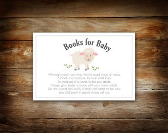 Please Bring a Book Instead of a Card - Little Lamb Baby Shower - Books For Baby - Baby Shower Book Request - Build Baby's Library