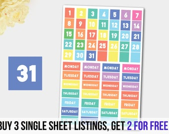 Dated Header Stickers, Calendar Stickers, Calendar Planner Stickers,ER Vertical Planner
