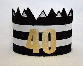 40th Birthday Crown, 40th Birthday Hat, Gold 40th Crown, Gold Birthday Crown, Birthday Party Hat, Adult Crowns, Adult Party Crown