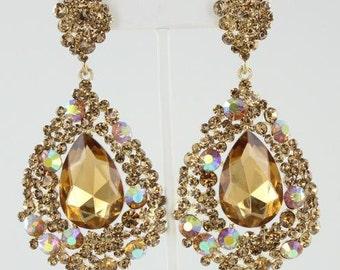 Gold Earrings | 202-7 | Big Gold Earrings | Gold Pageant Earrings| Gold Prom Earrings| Chunky Gold Earrings