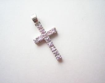 Sterling silver cross pendant, pink crystal cross, crystal cross pendant, Christian cross, silver Christian cross, pink cross pendant