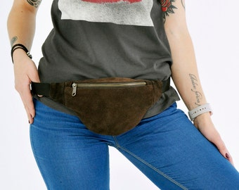 Dark Brown Suede Waist bag money belt hip bag belt bag fanny pack, genuine suede bum bag, festival bag, gift for her